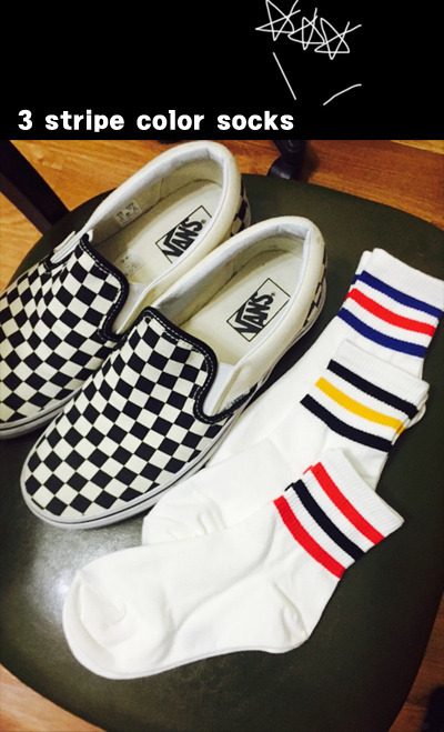 acc420. 3 stripe color socks [3color]