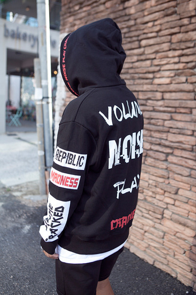 top1412. volume noise play hood [3color]