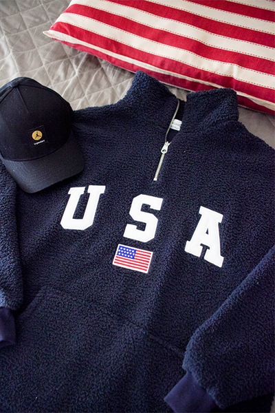 top1538. usa half zip-up [3color]