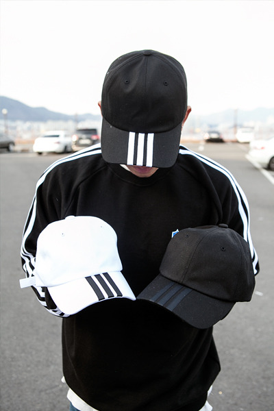 acc1027. three stripe ball cap [3color]