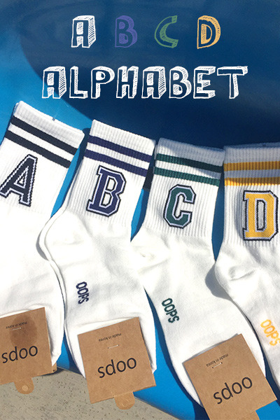 acc1039. ABCD Alphabet socks [4color]