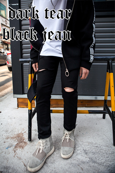 pants1080. dark tear black jean