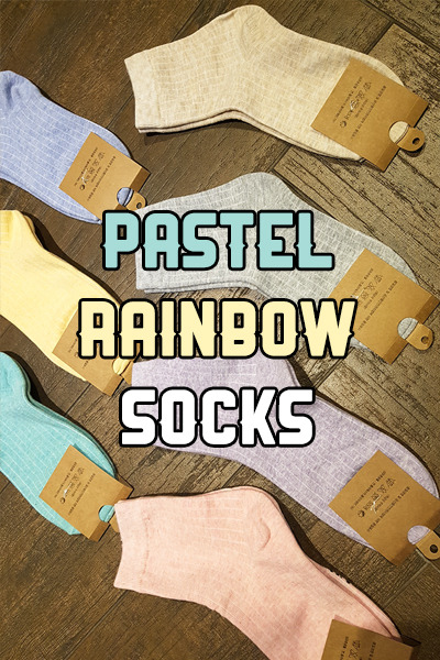 acc1071. pastel rainbow socks [7color]