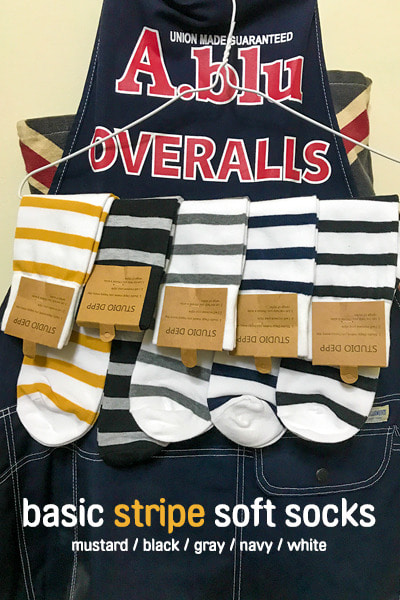 acc1145. basic stripe soft socks [5color]