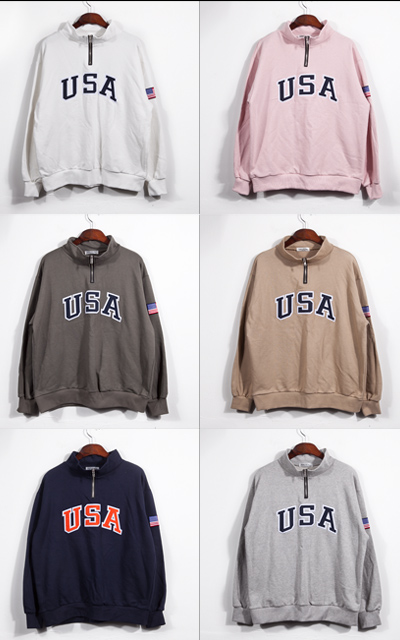 top967. S/S USA HALF ZIP-UP [6color]